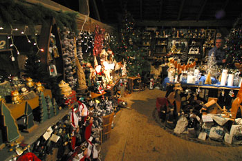 Christmas decorations, gifts, ornaments, baskets, nativity scenes, lights and more at Big Tree Plantation, Morrow, Ohio.